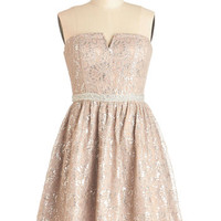 ModCloth Pastel Short Length Strapless A-line In Glint Condition Dress in Champagne