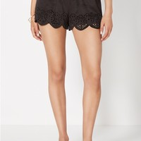 Scalloped Microsuede Short
