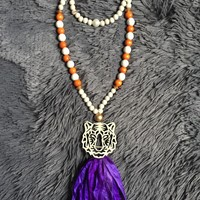 Wood Tiger & Purple Tassel Necklace