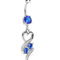 New Charming Dangle Crystal Navel Belly Ring Bling Barbell Button Ring Piercing Body Jewelry = 4804886404