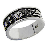 Space Band Sterling Silver Ring
