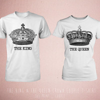 Cute Matching The King & The Queen Crown Couple T-shirt (White)