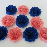 "Boy or Girl baby Shower Paper Flower Decorations, set of 10 large 3"" roses, Pink and Royal Blue, Prince or Princess Theme, Centerpiece decor"