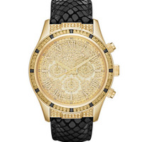 Michael Kors Mid-Size Black Leather Layton Glitz Watch
