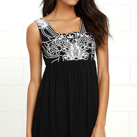 Weekend Plans Black Embroidered Dress