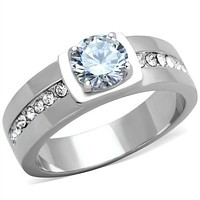 Mens Fashion Rings TK1816 Stainless Steel Ring with AAA Grade CZ