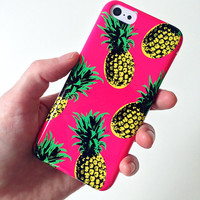 PINEAPPLE pattern iphone case, pineapple case, fruit cell case, tropical fruit iphone case, 90s iphone case, bright pink iphone 6
