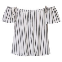 White Stripe Off Shoulder Blouse