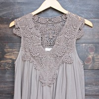 mykonos crochet lace dress - taupe