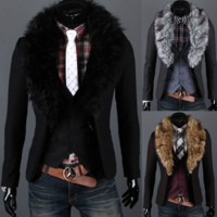 Modern Men Slim Fit Wool Blazer Coat with Removable Fur Collar
