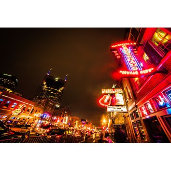 Nashville Tennessee Broadway Country Music Skyline Downtown Photography Landmark Canvas Metal Print Livingroom Bright Wall Art Cityscape