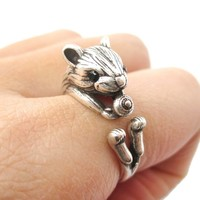 Realistic Hamster Gerbil With Walnut Animal Wrap Ring in Silver | US Size 6 to 9