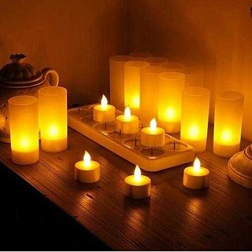 Grace LED Candles Set Of 12 Flameless Votives With Holders