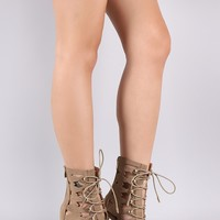 Cutout Lace-Up Peep Toe Stiletto Booties