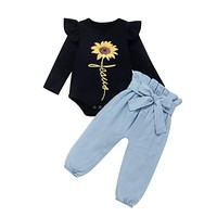 Fashion Baby Girl Clothes Fall Outfits Sunflower Long Sleeve Tops+Bowknot Denim Pants 2Pieces Baby Girl Autumn Sets 0-24M