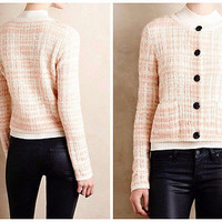 Anthropologie Plaid Boucle Cardi by Knitted & Knotted NWT