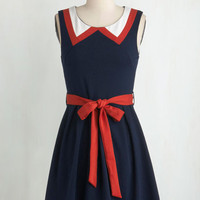 Nautical Short Length Sleeveless A-line Red, White, and Cute Dress by ModCloth