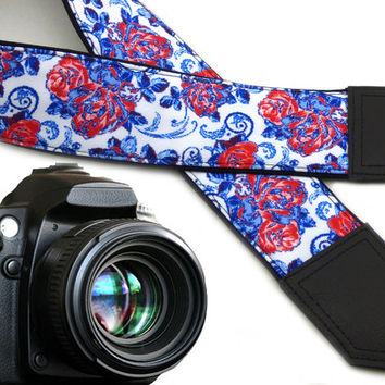 Flowers camera strap. Blue and red roses strap. DSLR / SLR Camera Strap. Hamdmade items by InTePro