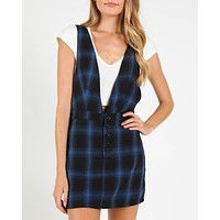 Wild Honey - Plaid V-Neck Pinafore Dress in Cobalt