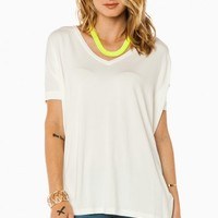 COZY SHORT SLEEVE V NECK TEE IN CREAM BY PIKO