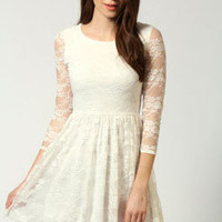Kirstie 3/4 Sleeve Lace Skater Dress
