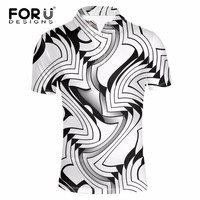 FORUDESIGNS Classic Men polo 3D Black and White Lattice Pattern Men Shirts Brand Breathable Men Short Sleeves Summer Beach Tops