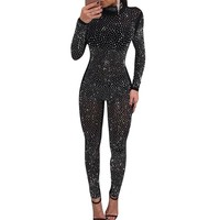 Sexy Bodycon Long Sleeve Sheer Jumpsuit Women Fashion Rhinestone Turtleneck Mesh See-Through Romper Sparkly Party Club Overalls
