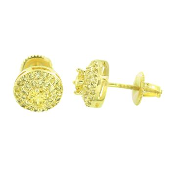 Round Cut Earrings 14K Yellow Gold Finish Solitaire Canary