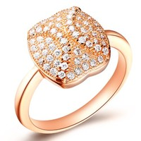 18K Rose Gold Plated Softball Crystal Pave Cocktail Ring - Size 8
