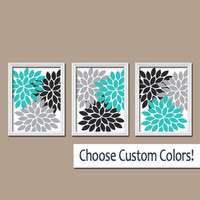 Wall Art Canvas Artwork Turquoise Black Gray White Flower Burst Dahlia  Set of 3 Trio Prints Wall Decor Bedroom Bathroom Three