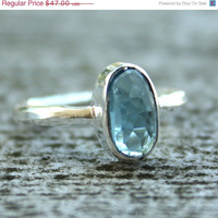 SALE 15 OFF London Blue Topaz Ring - ORGANIC Shape - Sterling Silver, Stacking Ring