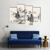 A Path In The Mountains Multi Panel Canvas Wall Art