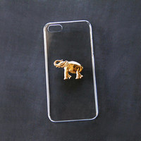 Elephant iPhone 5s Case Transparent iPhone 6 Plus Case iPhone 5s Elephant Case Galaxy Elephant Cover GalaxyS4 Clear Case Gold iPhone 6 Cover