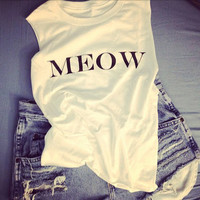 Meow Cropped Tank by Shopwunderlust on Etsy