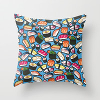 New Sushi Cyan Throw Pillow by thickblackoutline
