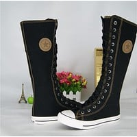 Fashion Girl's Canvas Shoes Boots Women Knee High Lace up Casual Canvas Shoes