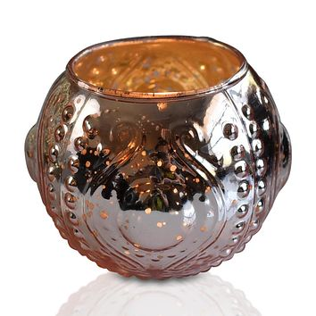 Vintage Mercury Glass Vase and Candle Holder (3.25-Inches, Small Josephine Design, Rose Gold Pink) - Use with Tea lights - for Home Décor, Parties and Weddings