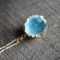 """Aqua Aura Druzy Geode, 24k Electroplated Gold Pendant on a 16"""" inch 14k Gold Filled Bead Accented Chain with a Spring Clasp"""