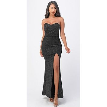 Long Fitted Sheath Black Party Dress Strapless With Slit