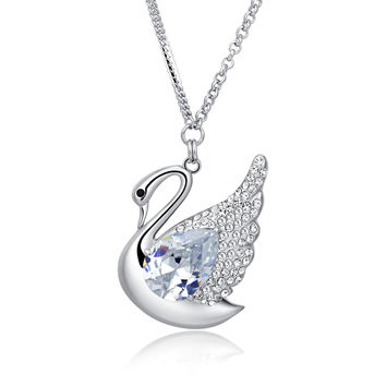 Swan Queen Swarovski Elements Crystal Long Chain Necklace - Clear
