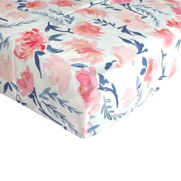 Fitted Crib Sheets   Blush, Peach and Navy Floral Baby Bedding