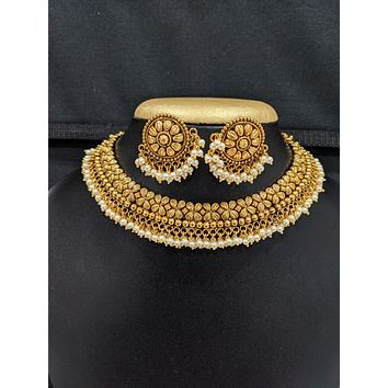 Pearl cluster bead Antique Gold plated Choker Necklace and Stud Earrings set