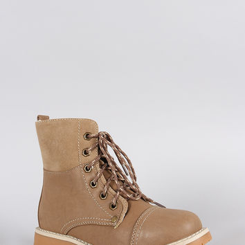 Warm Faux Shearling Lug Work Boots
