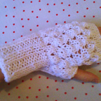 Use Valentineday10 coupon- Hand Knit White Fingerless Gloves/Mittens Wrist/Arm Warmers//wrist warmers/Winter Fashion/Valentines gift