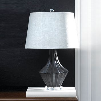Black and Gray Porcelain Table Lamp with Linen Shade