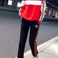 """Adidas"" Women's Leisure  Fashion Letter Printing Spell Color Long Sleeve Trousers Two-Piece Casual Wear"