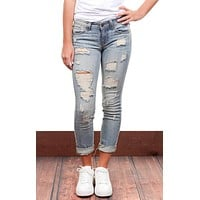 Amy Light Wash Distressed Cropped Denim Jeans