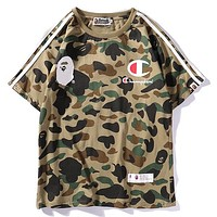 Champion x BAPE Woman Men Fashion Print Tunic Shirt Top Blouse