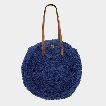 Button Detail Soft Straw Circle Tote Bag (Click For More Colors)