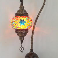 Yellow swan neck mosaic lamp with vintage look bronze plated base , Bedside lamp, Turkish lamp, Night Light, Gypsy Lamp. Desk Lamp, Lighting